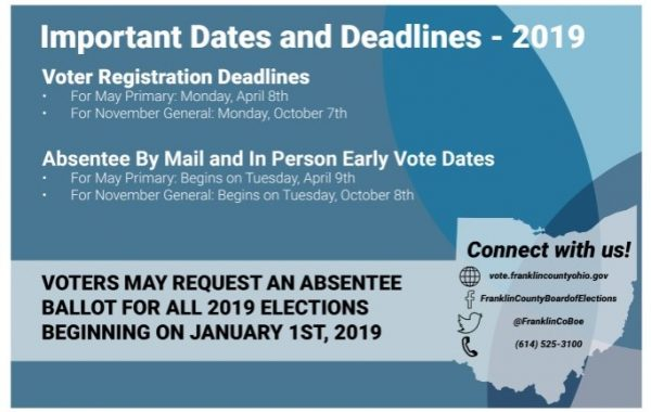 Franklin County Board of Elections Deadlines 2019